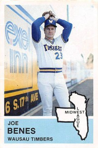 A player card from Joe Benes' baseball career. The Wausau Timbers was a farm team for the Seattle Mariners.