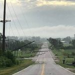A damaged 69-kv transmission line near Plattsmouth.